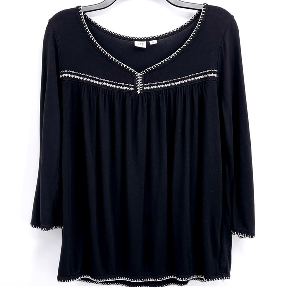 Gap Embroidered Peasant Top